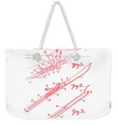 Climber For Skis 1939 Russell Patent Art Red On White Weekender Tote Bag