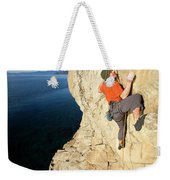 Climber Reaches For Hand Hold Weekender Tote Bag