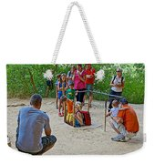 Climbing Down The Ladder Into A Kiva At Spruce Tree House In Mesa Verde National Park-colorado Weekender Tote Bag
