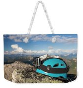 Climbing Helmet With Camera On Mountain Weekender Tote Bag