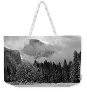 Cloaked In A Snow Storm - Monochrome Weekender Tote Bag