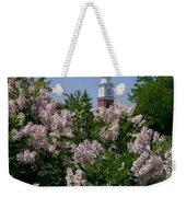 Clock Tower And Lilacs Weekender Tote Bag