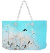 Close-up Dandelion Seeds Against Blue Weekender Tote Bag