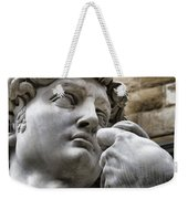 Close-up Face Statue Of David In Florence Weekender Tote Bag