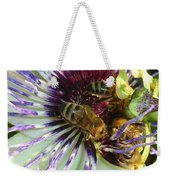 Close Up Of Passion Flower With Honey Bee  Weekender Tote Bag