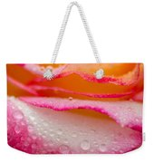 Close Up Of Pink Rose Petails Covered Dew Weekender Tote Bag