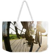Close Up Of Wheel Of Bicycle On Road Weekender Tote Bag