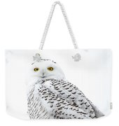 Close Up Snowy Weekender Tote Bag