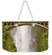 Close Up View Of Multnomah Falls In The Columbia River Gorge Of Oregon Weekender Tote Bag