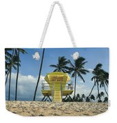 Closed Lifeguard Shack On A Deserted Tropical Beach With Palm Tr Weekender Tote Bag