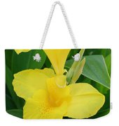 Closeup Of A Tropical Yellow Canna Lily Weekender Tote Bag