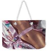 Closeup Of Beautiful Nude Asian Woman Body In Pink Kimono Weekender Tote Bag