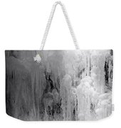 Closeup Of Icy Waterfall - Black And White Weekender Tote Bag