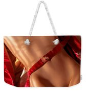 Closeup Of Sexy Nude Woman Body On Red Kimono Weekender Tote Bag