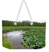 Clouds Among The Lily Pads In Swan Lake In Grand Teton National Park-wyoming  Weekender Tote Bag