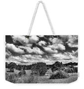 Cloudy Countryside Collage - Black And White Weekender Tote Bag