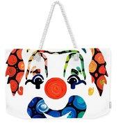 Clownin Around - Funny Circus Clown Art Weekender Tote Bag by Sharon Cummings