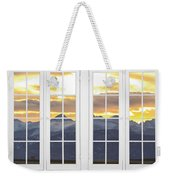 Co Mountain Gold View Out An Old White Double 16 Pane White Window Weekender Tote Bag