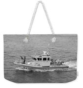Coast Guard On Patrol In Black And White Weekender Tote Bag