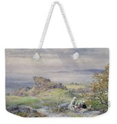 Coast Scene With Children In The Foreground, 19th Century Weekender Tote Bag