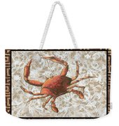 Coastal Crab Decorative Painting Greek Border Design By Madart Studios Weekender Tote Bag