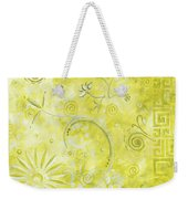 Coastal Decorative Citron Green Floral Greek Checkers Pattern Art Green Whimsy By Madart Weekender Tote Bag by Megan Duncanson