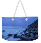 Coastal Rocks In Water At Unstad Beach Weekender Tote Bag