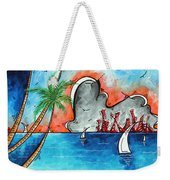 Coastal Tropical Beach Art Contemporary Painting Whimsical Design Tropical Vacation By Madart Weekender Tote Bag