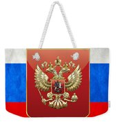 Coat Of Arms And Flag Of Russia Weekender Tote Bag