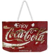 Coca Cola Wood Grunge Sign Weekender Tote Bag