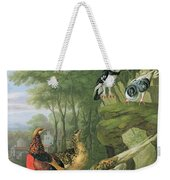 Cock Pheasant Hen Pheasant And Chicks And Other Birds In A Classical Landscape Weekender Tote Bag