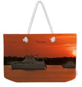 Cabin Cruiser And Red Sunset Over Harbour Weekender Tote Bag