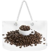 Coffee Beans And Coffee Cup Isolated On White Weekender Tote Bag
