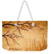Coffee Painting Cherry Blossoms Weekender Tote Bag by Georgeta  Blanaru