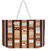Coin Quilt -  Painting - Brown And White Patches Weekender Tote Bag