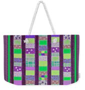 Coin Quilt - Quilt Painting - Purple And Green Patches Weekender Tote Bag