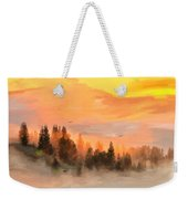 Cold Foggy Spring Morning Weekender Tote Bag