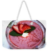Cold Strawberry Rhubarb Soup In Ice Bowl Weekender Tote Bag