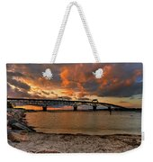 Coleman Bridge At Sunset Weekender Tote Bag