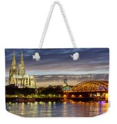Cologne Cathedral With Rhine Riverside Weekender Tote Bag