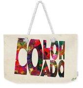 Colorado Typographic Watercolor Map Weekender Tote Bag