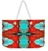 Color Chant - Red And Aqua Pattern Art By Sharon Cummings Weekender Tote Bag