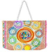 Color Circles Crystal Stones Borders Chakra Energy Healing Weekender Tote Bag