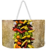Color Peppers From Spain With Textured Background Dsc01467 Weekender Tote Bag