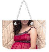 Color Portrait Young Pregnant Spanish Woman II Weekender Tote Bag
