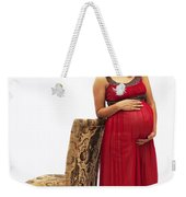 Color Portrait Young Pregnant Spanish Woman Leaning On Chair Weekender Tote Bag