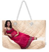Color Portrait Young Pregnant Spanish Woman Reclining Weekender Tote Bag