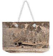 Colorado Rocky Mountain Barn Sepia Weekender Tote Bag
