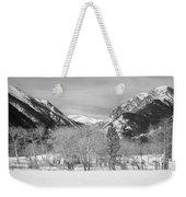 Colorado Rocky Mountain Winter Horseshoe Park Bw Weekender Tote Bag