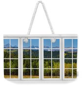 Colorado Rocky Mountains White Window Frame View Weekender Tote Bag